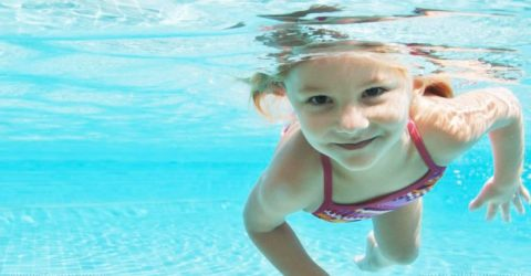 Child Girl Swim Underwater Pool