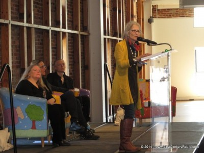 Zohara Hieronimus D.H.L. speaking in the Visionary Center. Also onstage are AVAM Founder Rebecca Hoffberger, visonary artist Alex Grey, and transhumanist and author Martine Rothblatt.