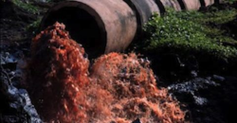 Effluent pipe of Common Effluent Treatmant Plant at Damanganga river in Vapi,Gujarat,India